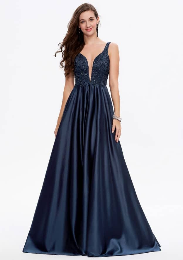 A-line/Princess Sleeveless Long/Floor-Length Satin Prom Dress With Sequins/Appliqued