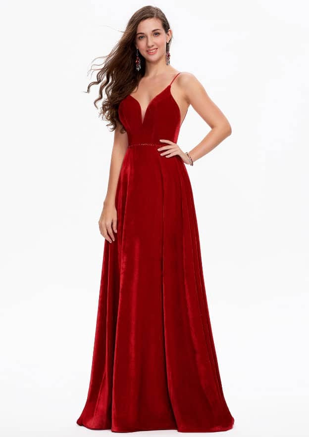 A-line/Princess Sleeveless Sweep Train Velvet Prom Dress