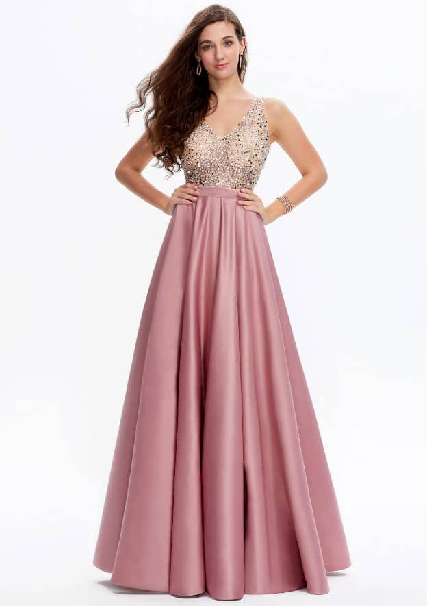 A-line/Princess Sleeveless Long/Floor-Length Satin Prom Dress With Sequins/Beading