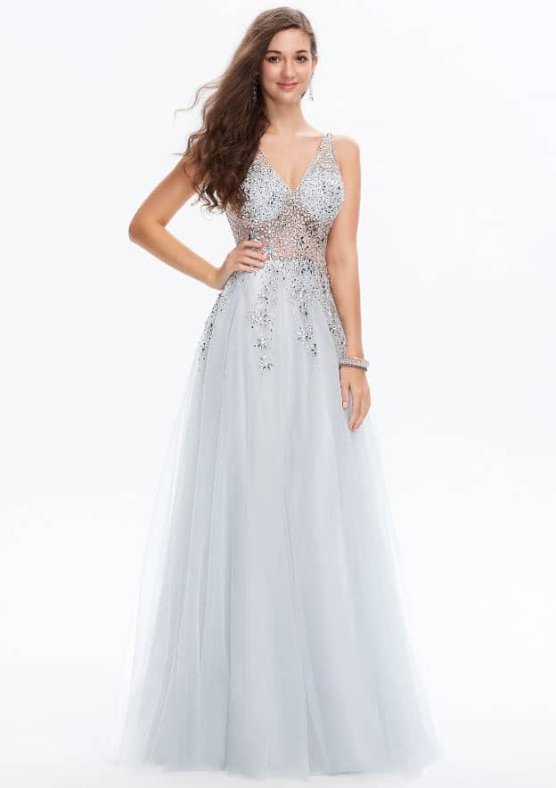 A-line/Princess Sleeveless Long/Floor-Length Tulle Prom Dress With Rhinestone/Sequins/Beading