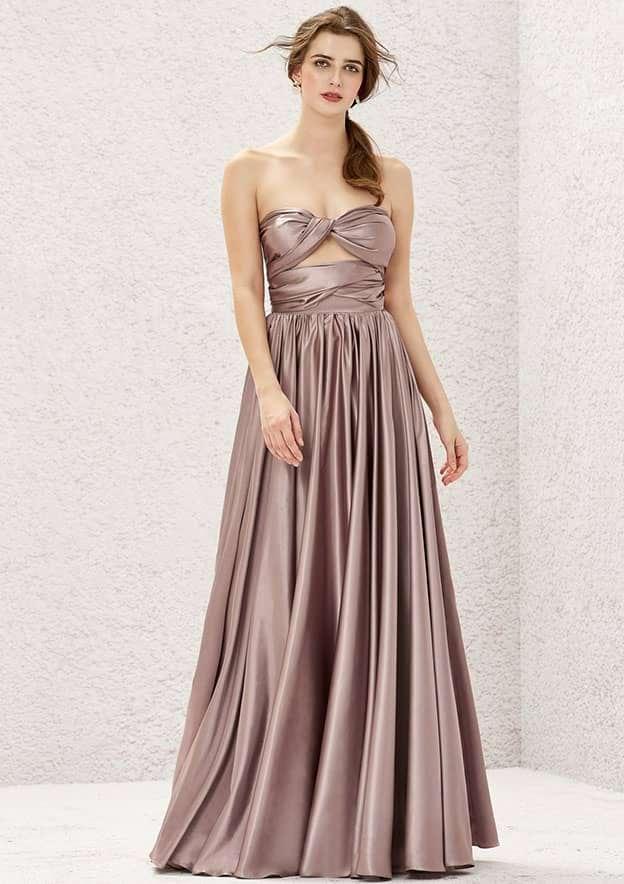 A-line/Princess Sleeveless Long/Floor-Length Charmeuse Convertible Bridesmaid Dress Convertible Bridesmaid Dresses