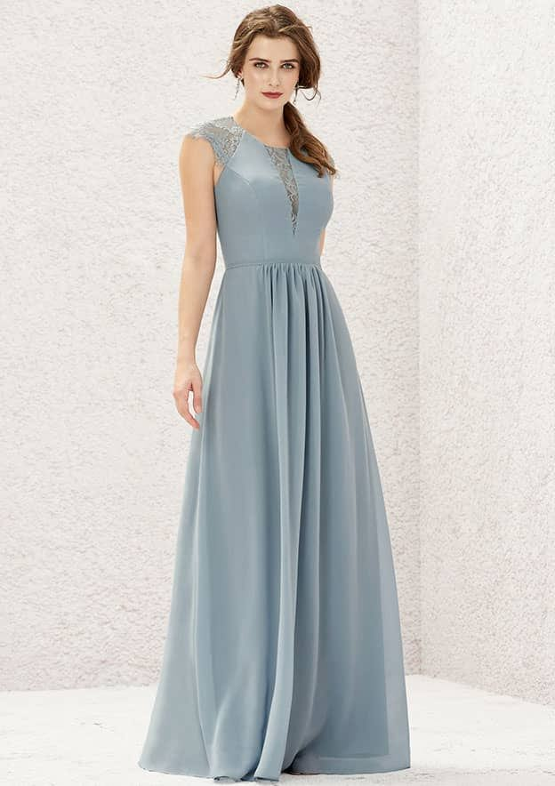 A-line/Princess Sleeveless Long/Floor-Length Chiffon Bridesmaid Dress With Lace/Pleated