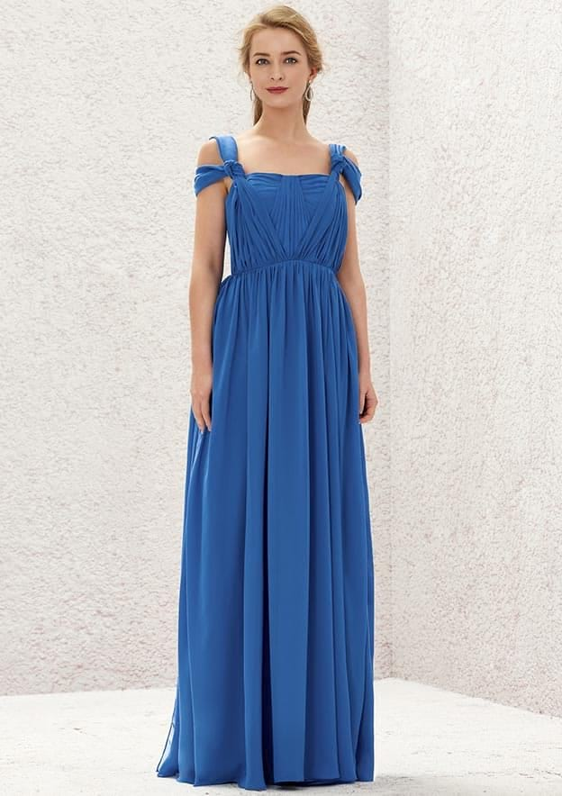 A-line/Princess Sleeveless Long/Floor-Length Chiffon Convertible Bridesmaid Dress With Pleated