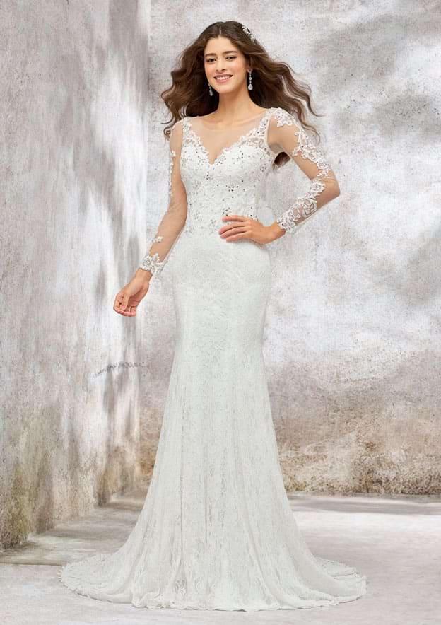 Trumpet/Mermaid Full/Long Sleeve Illusion Neck Lace Wedding Dress With Beading