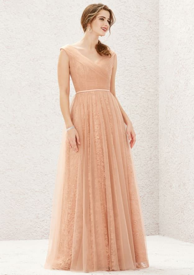 A-line/Princess Sleeveless Long/Floor-Length Lace/Tulle Bridesmaid Dresses With Pleated