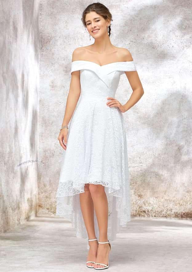 A-line Off-the-Shoulder Sleeveless Asymmetrical Lace Wedding Dress