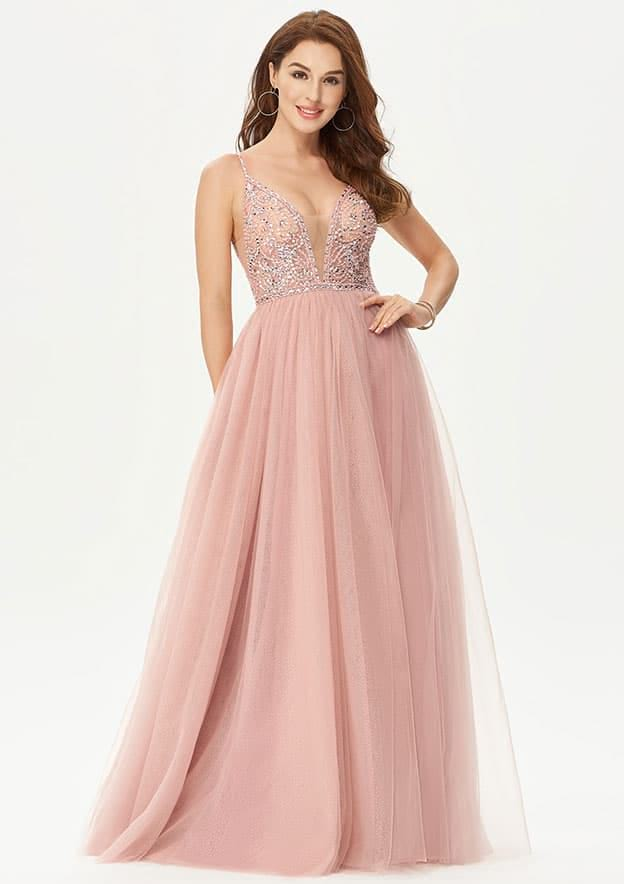 A-line/Princess Sleeveless Long/Floor-Length Sparkling Tulle Prom Dress With Glitter Sequins Beading