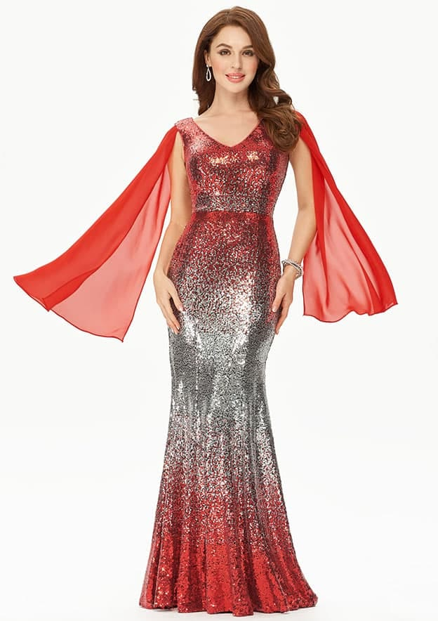 Sheath/Column Sleeveless Long/Floor-Length Sequined Prom Dress With Bubble/Pick Up Skirt