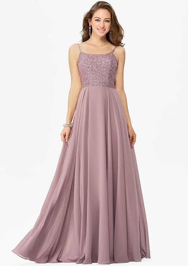 A-line/Princess Sleeveless Long/Floor-Length Chiffon Prom Dress With Rhinestone Beading Sequins