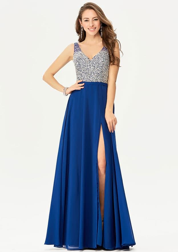 A-line/Princess Sleeveless Long/Floor-Length Chiffon Prom Dress With Split Sequins Beading