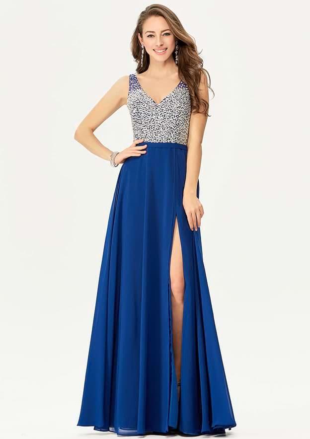 A-line/Princess Sleeveless Long/Floor-Length Chiffon Prom Dress With Split Sequins Beading