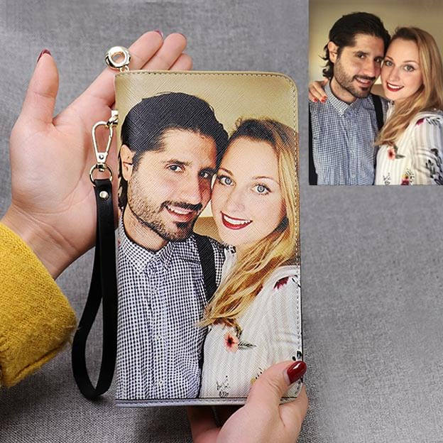 Leather Custom Personalized Double Sided Photo Women's Wallet