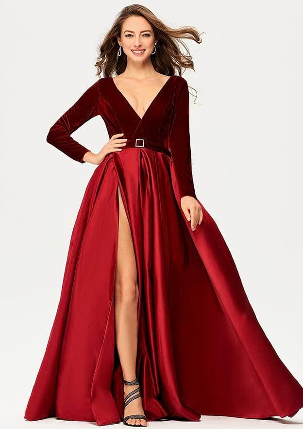 A-line/Princess Full/Long Sleeve Long/Floor-Length Satin/Velvet Prom Dress With Split Pockets Sashes