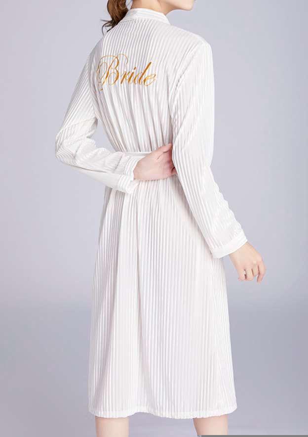 Personalized Customized Velvet Bride Tea-Length Robe