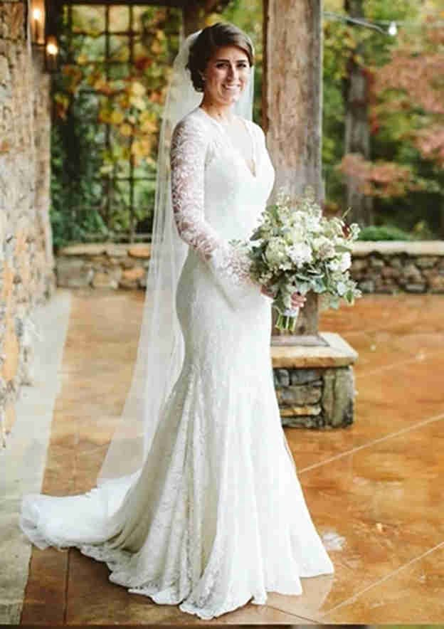Trumpet/Mermaid Full/Long Sleeve Sweep Train Lace Wedding Dress Wedding Dresses