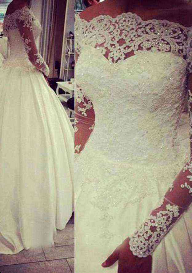 Ball Gown Off-The-Shoulder Full/Long Sleeve Court Train Satin Wedding Dress With Appliqued Beading Lace