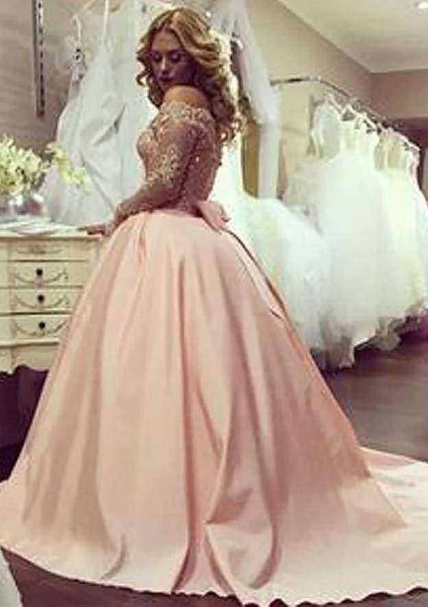 Ball Gown Off-The-Shoulder Full/Long Sleeve Court Train Satin Dress With Appliqued Beading Lace