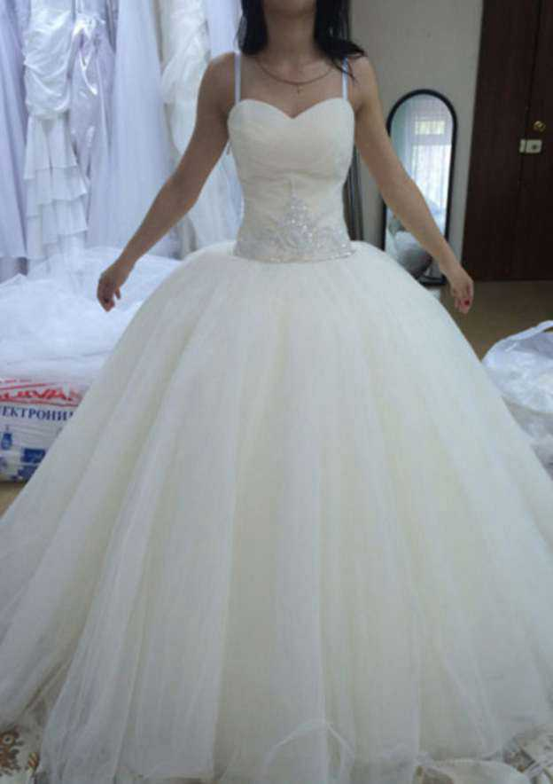 Ball Gown Sweetheart Sleeveless Long/Floor-Length Tulle Wedding Dress With Crystal
