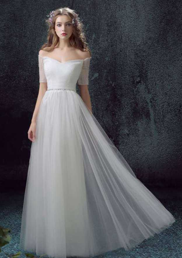 A-Line/Princess Off-The-Shoulder Short Sleeve Long/Floor-Length Tulle Wedding Dresses With Rhinestone