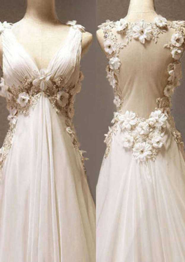 A-Line/Princess V Neck Sleeveless Sweep Train Chiffon Wedding Dress With Appliqued Beading Flowers