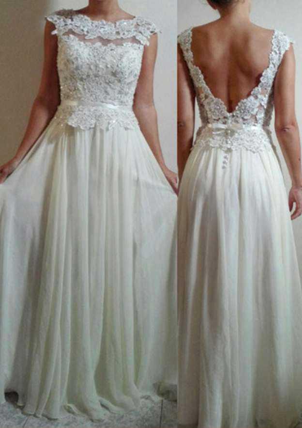 A-Line/Princess Scalloped Neck Sleeveless Long/Floor-Length Chiffon Wedding Dress With Appliqued Beading Sashes