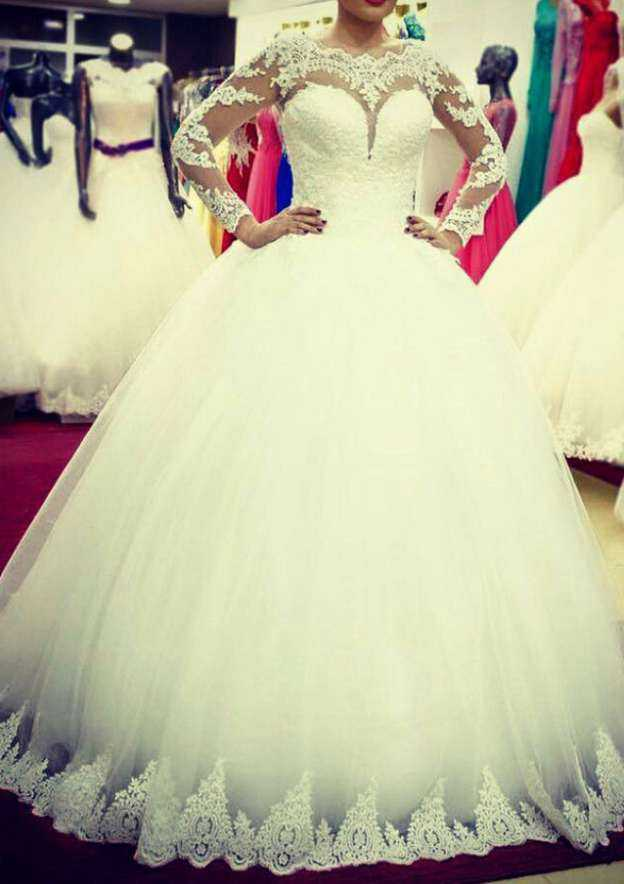 Ball Gown Scalloped Neck Full/Long Sleeve Long/Floor-Length Tulle Wedding Dress With Appliqued Lace