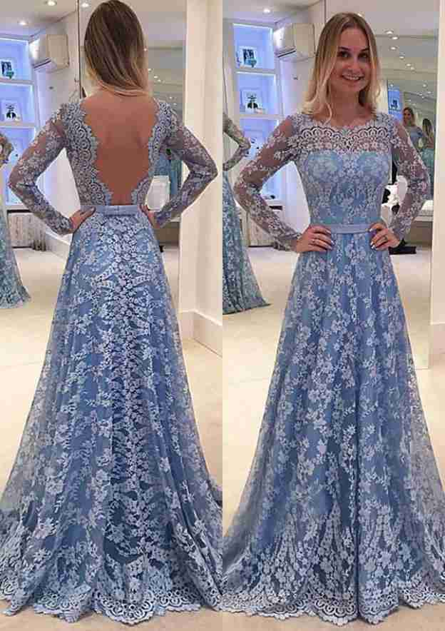A-Line/Princess Scalloped Neck Full/Long Sleeve Long/Floor-Length Lace Prom Dress With Appliqued