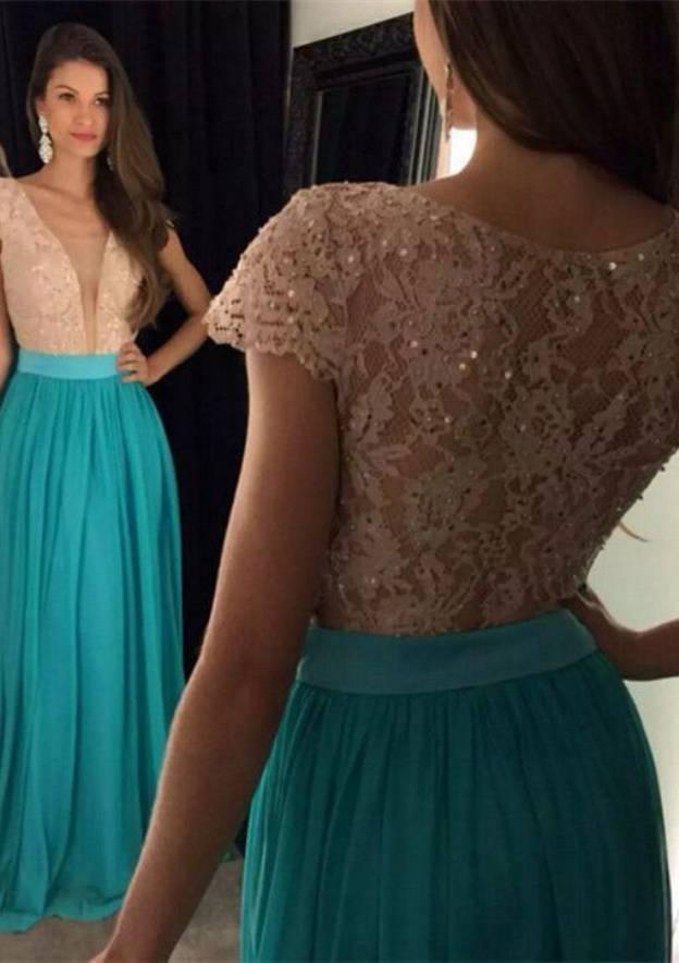 A-Line/Princess V Neck Short Sleeve Sweep Train Chiffon Prom Dress With Lace