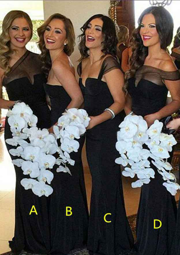 Sheath/Column One-Shoulder Sleeveless Long/Floor-Length Jersey Bridesmaid Dresses