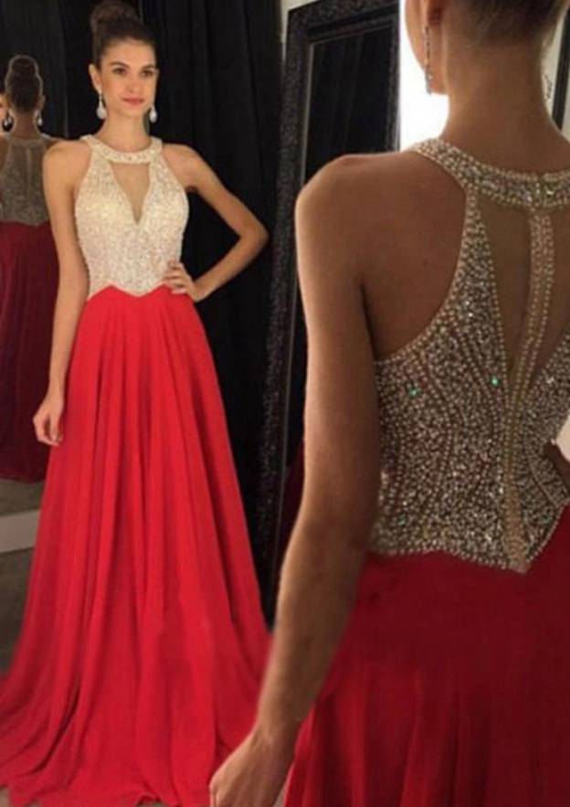 A-Line/Princess Scoop Neck Sleeveless Sweep Train Chiffon Prom Dress With Crystal Detailing