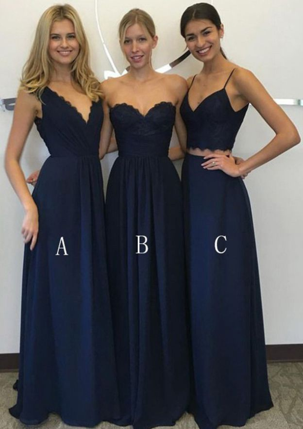 A-Line/Princess V Neck Sleeveless Long/Floor-Length Chiffon Bridesmaid Dress