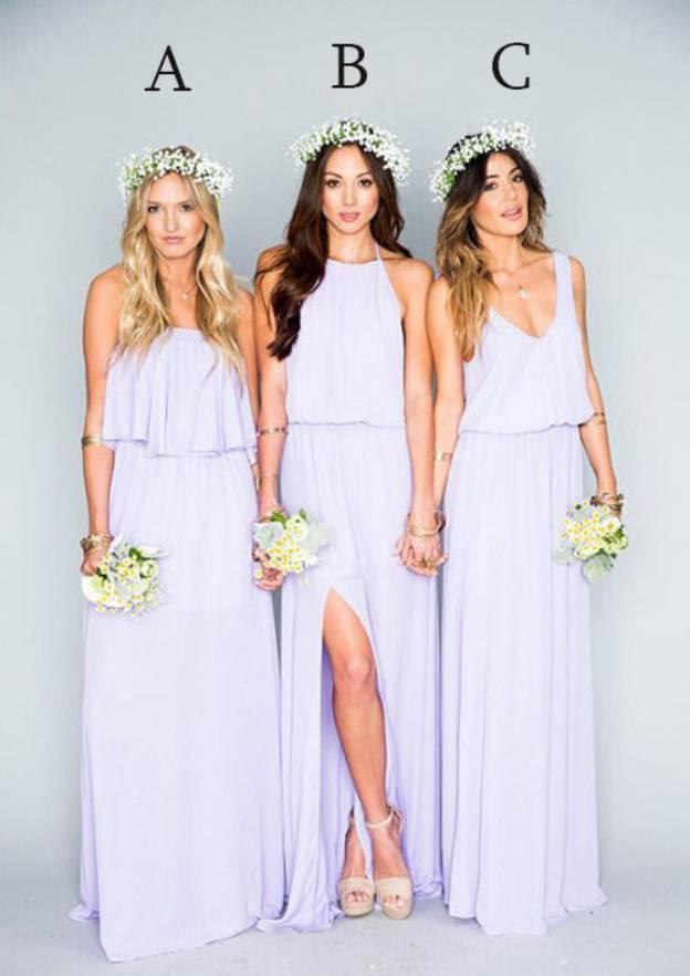 A-Line/Princess V Neck Sleeveless Long/Floor-Length Chiffon Bridesmaid Dress With Split