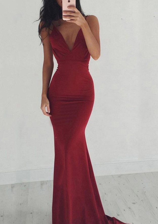 Sheath/Column V Neck Sleeveless Sweep Train Jersey Prom Dress