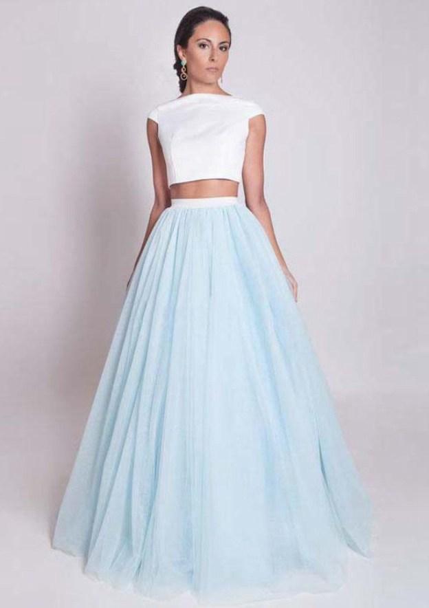 Ball Gown Bateau Sleeveless Long/Floor-Length Tulle Prom Dress