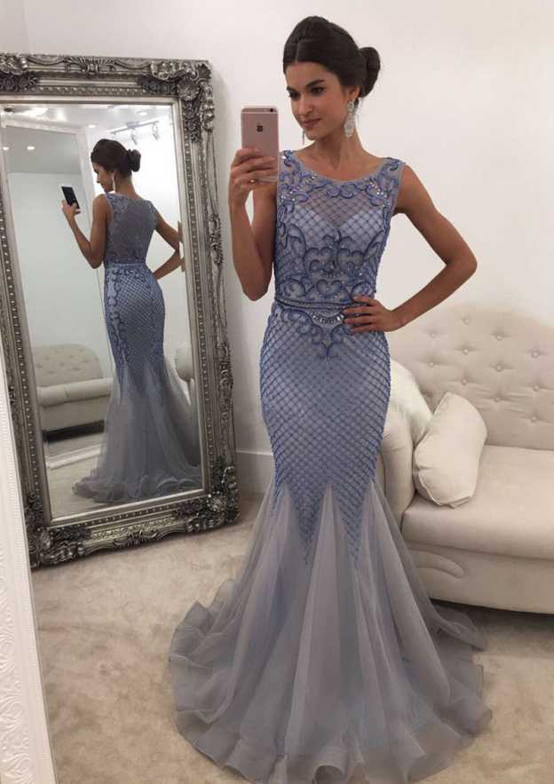 Trumpet/Mermaid Scoop Neck Sleeveless Sweep Train Tulle Prom Dress With Beading Appliqued