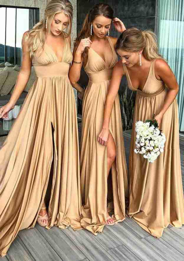 A-Line/Princess V Neck Sleeveless Sweep Train Charmeuse Bridesmaid Dresses With Split Pleated Waistband