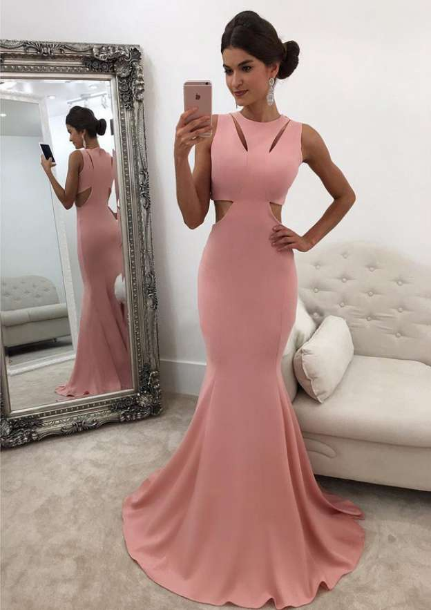 Trumpet/Mermaid Scoop Neck Sleeveless Sweep Train Jersey Prom Dress