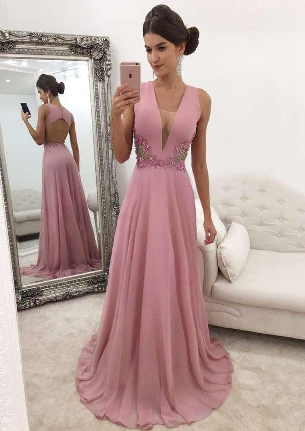 A-Line/Princess V Neck Sleeveless Sweep Train Chiffon Prom Dress With Beading