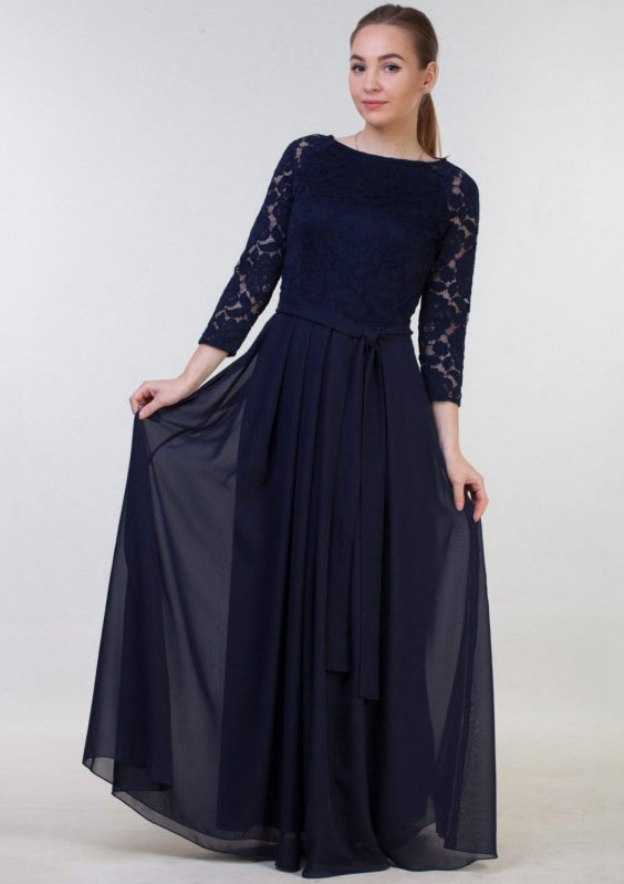 A-Line/Princess Bateau 3/4 Sleeve Long/Floor-Length Chiffon Mother Of The Bride Dress With Lace Sashes