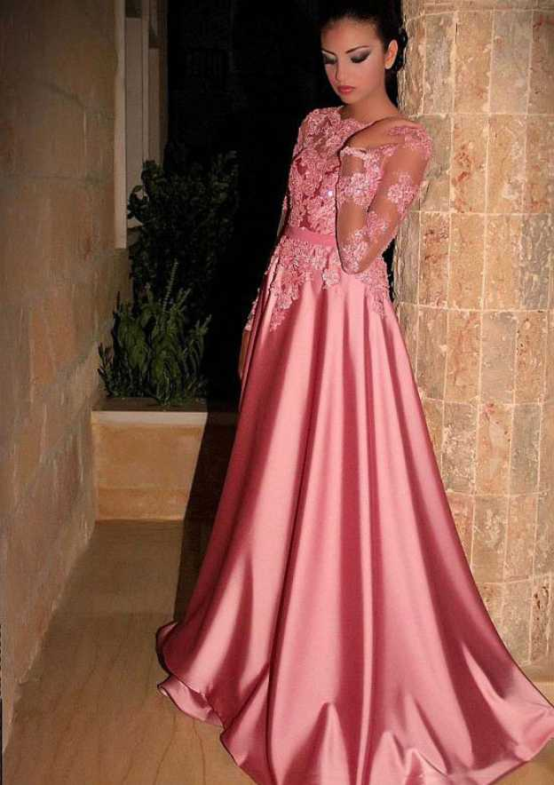 A-Line/Princess Scoop Neck Full/Long Sleeve Sweep Train Satin Prom Dress With Appliqued