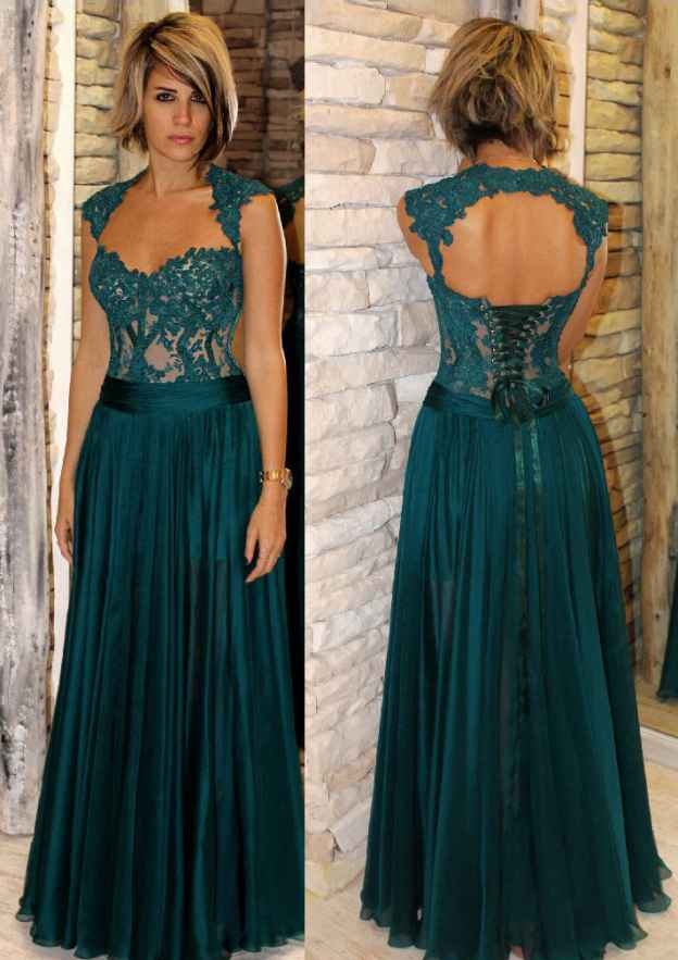 A-Line/Princess Sweetheart Sleeveless Long/Floor-Length Chiffon Mother Of The Bride Dress With Waistband Lace