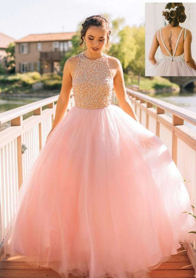 Ball Gown Scoop Neck Sleeveless Long/Floor-Length Tulle Prom Dress With Appliqued