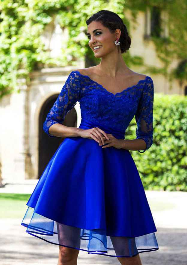 Ball Gown V Neck 3/4 Sleeve Knee-Length Satin Prom Dress With Lace
