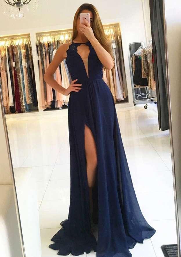 A-Line/Princess Scoop Neck Sleeveless Sweep Train Chiffon Prom Dress With Split Appliqued