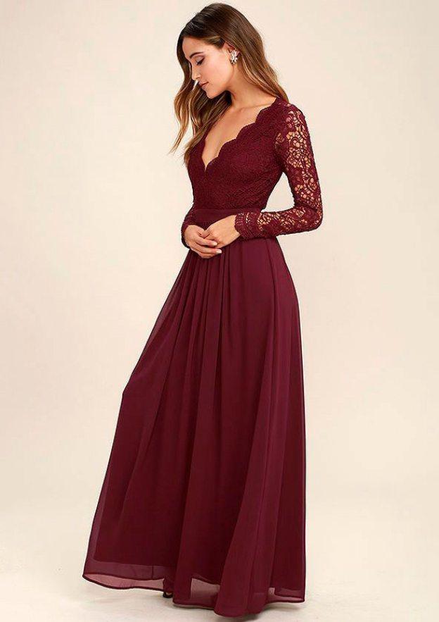 A-Line/Princess V Neck Full/Long Sleeve Long/Floor-Length Chiffon Prom Dress With Appliqued