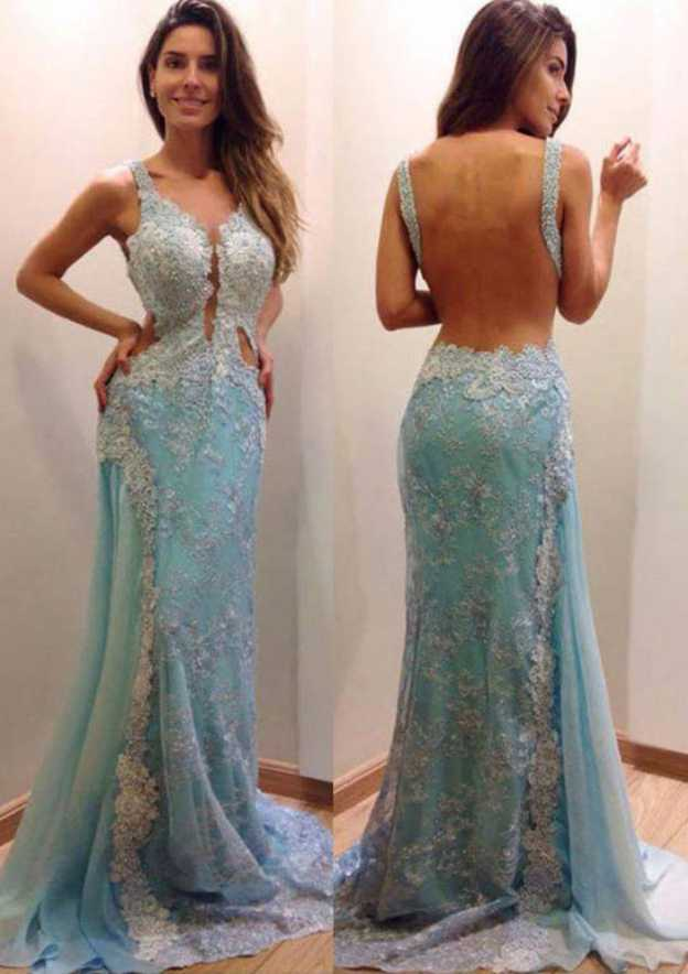 Sheath/Column V Neck Sleeveless Sweep Train Chiffon Prom Dress With Lace Beading