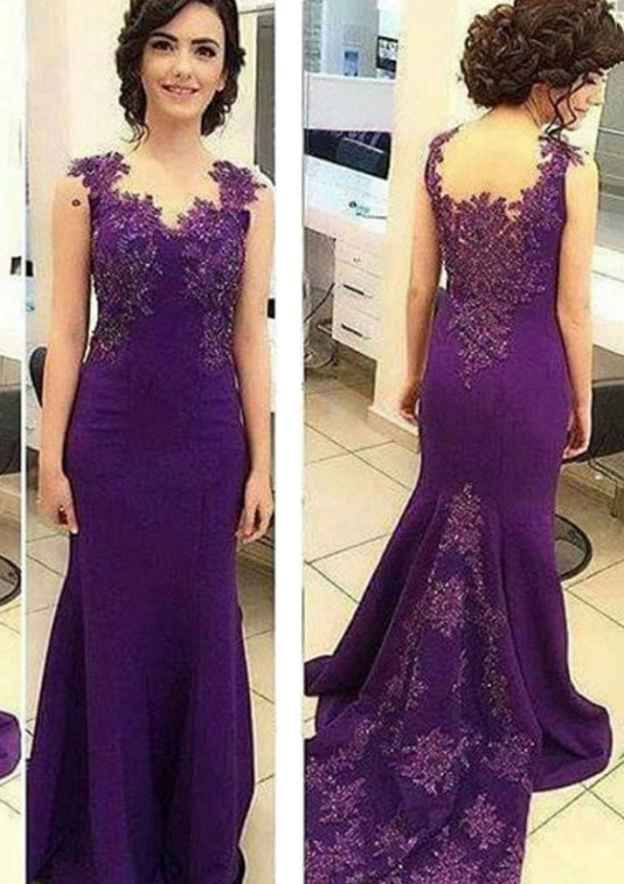 56df35b35ab Trumpet Mermaid V Neck Sleeveless Sweep Train Jersey Prom Dress With  Appliqued