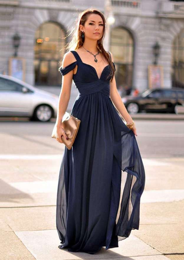 A-Line/Princess Sweetheart Sleeveless Long/Floor-Length Chiffon Prom Dress With Pleated