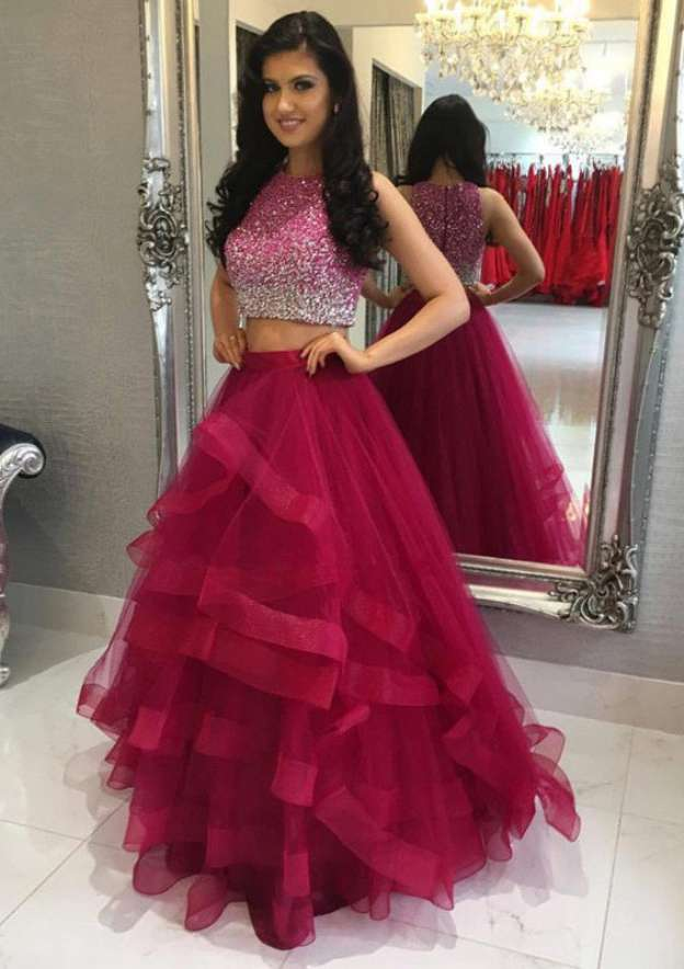 Ball Gown Scoop Neck Sleeveless Long/Floor-Length Organza Prom Dress With Ruffles Sequins