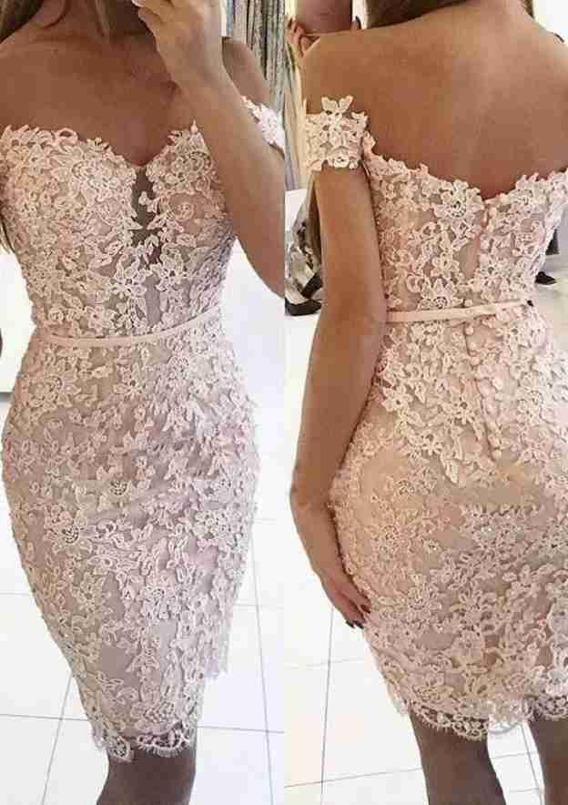 Sheath/Column Off-The-Shoulder Sleeveless Knee-Length Lace Homecoming Dress
